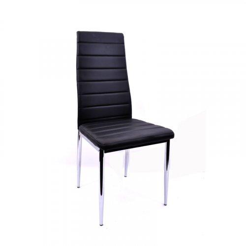 FYLLIANA Y-228 PU 606-14-020 Καρέκλα Μάυρη με Χρώμιο