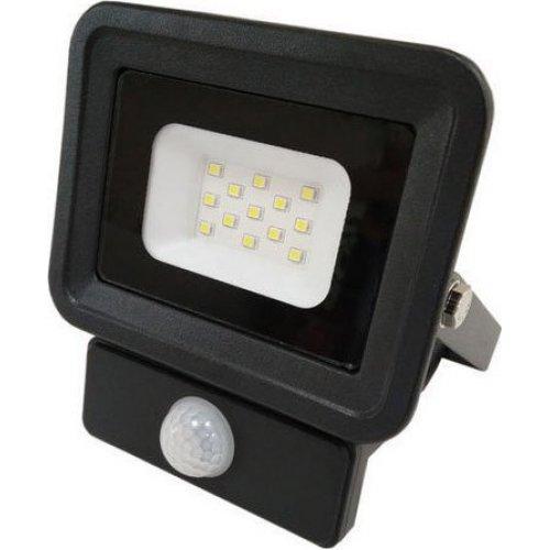 EUROLAMP 147-69451 Προβολέας LED SMD με Ανιχνευτή Κίνησης Basic 10W Μαύρος IP65 6500K 0015201
