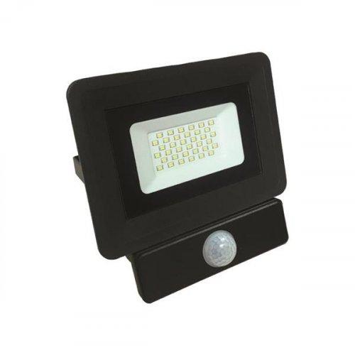 EUROLAMP 147-69455 Προβολέας LED SMD με Ανιχνευτή Κίνησης BASIC 30W Μαύρος IP65 6500K 0015204