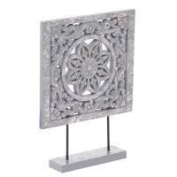 INART 3-70-616-0013 Διακοσμητικό Επιτραπέζιο Ξυλόγλυπτο Αντικέ Γκρι Ασημί  25χ6χ35