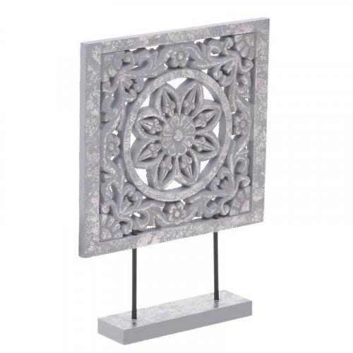 INART 3-70-616-0013 Διακοσμητικό Επιτραπέζιο Ξυλόγλυπτο Αντικέ Γκρι Ασημί  25χ6χ35 0016457