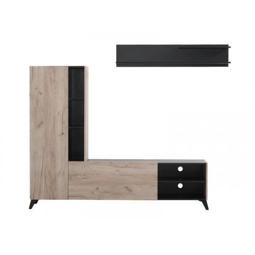 FORMA IDEALE 11007396 Κέντρο Ψυχαγωγίας Viterbo Grey Oak Μαύρο 210χ35χ170.5εκ.