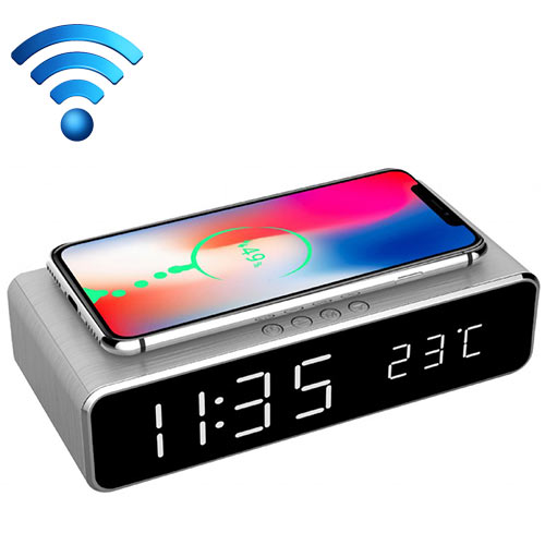 GEMBIRD DAC-WPC-01-S Digital Alarm Clock With Wireless Charging Function Silver 0018434