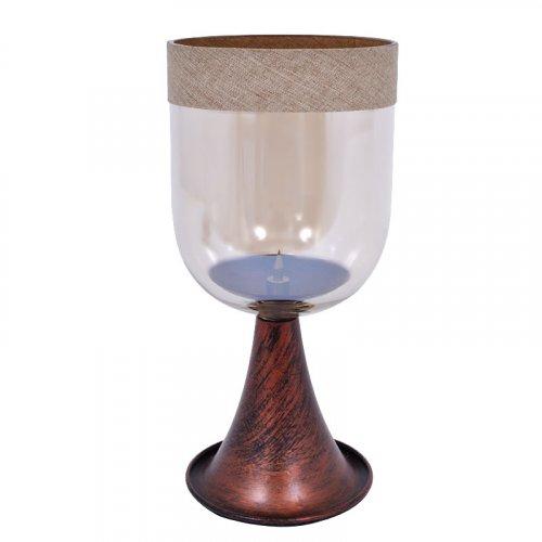 ETIQUETTE 1-0025-82-041 Μεταλλικό Κηροπήγιο Με Γυαλί Και Λινή Κορδέλα Μικρό 1518-M