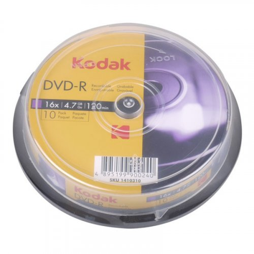 KODAK DVD-R 10-Pack 16x 4.7GB, 10-pack cakebox