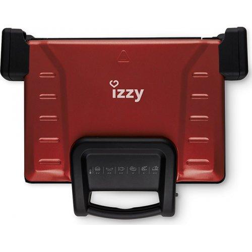 IZZY Family Grill Ceramic Τοστιέρα-Ψηστιέρα για 4 Τοστ 2100W Κόκκινη
