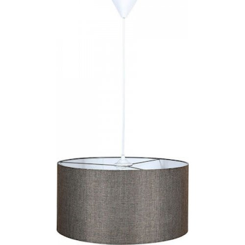 FYLLIANA 835-91-093 Φωτιστικό Οροφής Καφέ Καπέλο Με Λευκό Καλώδιο 40χ75εκ 0021103