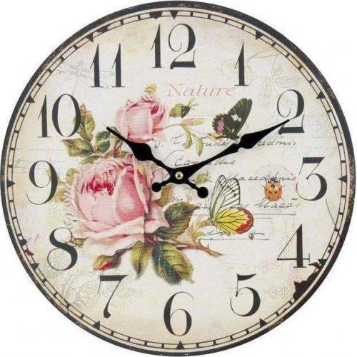 INART 3-20-773-0054 Ρολόι Τοίχου Ξύλινο Τριαντάφυλλα 34 x 4