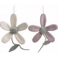 INART 3-70-146-0406 S/2 Διακοσμητικό Κρεμαστό Λουλούδι 2 Χρώματα Υφασμάτινα 15 χ 5 χ 34