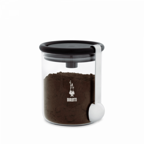 BIALETTI Γυάλινο Δοχείο Αποθήκευσης καφέ - με βάση για τοποθέτηση δοχείου καφέ bialetti και κουτάλι (DCDESIGN07)