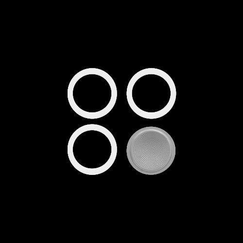 BIALETTI 0800001 Ανταλλακτικό Φίλτρο & 3 Φλάντζες για Moka 1 Μερίδων (B U L K) 0021966
