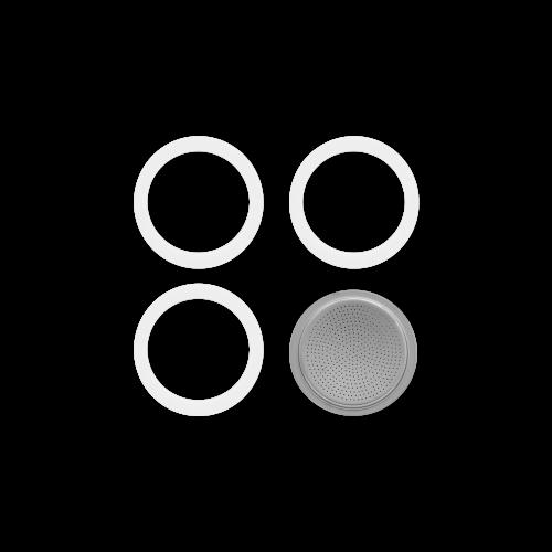 BIALETTI 0800014 Ανταλλακτικό Φίλτρο & 3 Φλάντζες για Brikka 4 Μερίδων 0021972