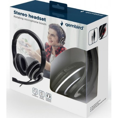 GEMBIRD MHS-03-BKWT JACK STEREO HEADSET BLACK WITH WHITE RING 0022161