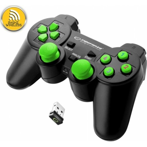 ESPERANZA EGG108G Wireless Gamepad 2.4GHZ PS3/PC Gladiator Black/Green 0022841