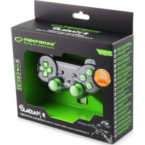 ESPERANZA EGG108G Wireless Gamepad 2.4GHZ PS3/PC Gladiator Black/Green 0022841
