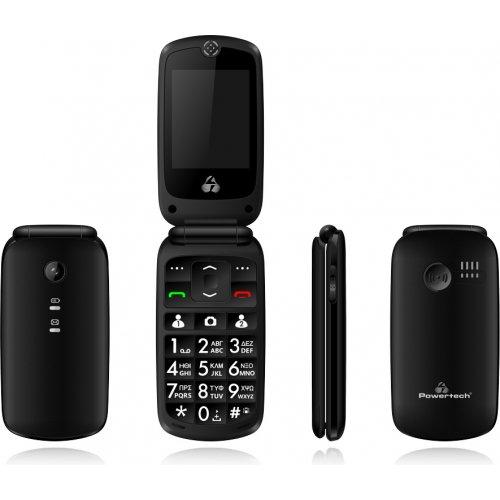 POWERTECH PTM-16 Κινητό Τηλέφωνο Sentry IV, SOS Call, με Φακό, Μαύρο 0022953