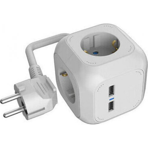 HEITECH HEI002254 Socket Cube (4-WAY) With 2 USB Charging-Connectors