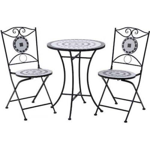 INART 3-50-238-0003 Τραπέζι και 2 Καρέκλες Μεταλ.Μωσαικό Δ40χ72/42χ38χ90