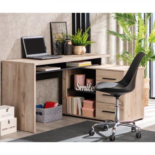 FORMA IDEALE ARHIMED 11008666 Γραφείο Grey Oak /Μαύρο 138x102x75 cm