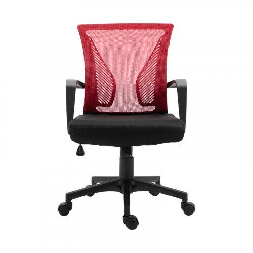 FYLLIANA 388-00-006 Καρέκλα Γραφείου W-05 Κόκκινη Πλάτη-Μαύρο Κάθισμα 57χ65χ91