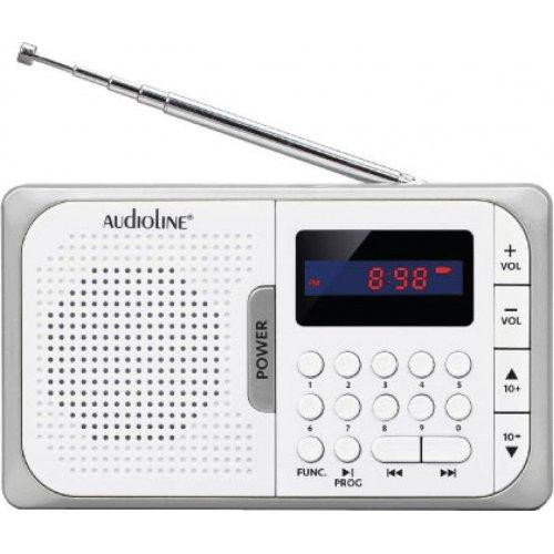 AUDIOLINE TR-210 Ψηφιακό φορητό ραδιόφωνο USB/Micro/SD/PLL  Λευκό-Ασημί