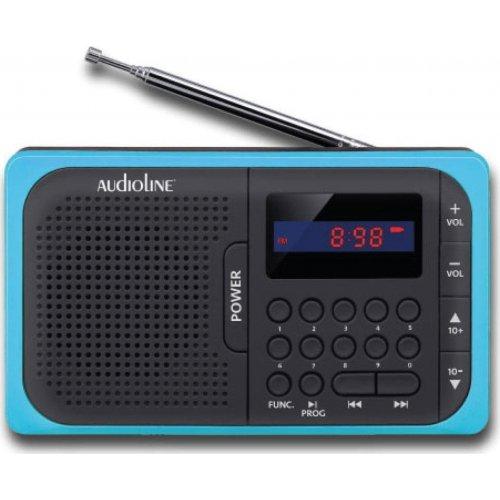 AUDIOLINE TR-210 Ψηφιακό φορητό ραδιόφωνο USB/Micro/SD/PLL Μαυρό Μπλε 0023899