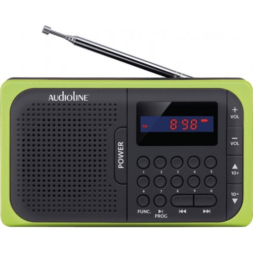 AUDIOLINE TR-210 Ψηφιακό φορητό ραδιόφωνο USB/Micro/SD/PL Μαυρό Πράσινο 0023900