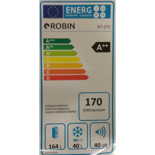 ROBIN RT-273 Ψυγείο Δίπορτο 204lt - A++ 0025170