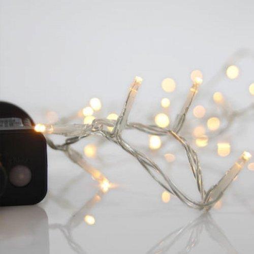 EUROLAMP 600-11561 Χριστουγεννιάτικα Λαμπάκια LED 100 Θερμό Λευκό 3mm με Προγράμματα, Σειρά, Διαφανές Καλώδιο Ρεύματος 5m 0025560