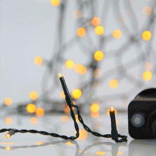 EUROLAMP 600-11597 Χριστουγγενιάτικα Λαμπάκια 1.500 LED Θερμό Λευκό 3mm με Προγράμματα, Σειρά, Πράσινο Καλώδιο Ρεύματος 74.95m 0025564