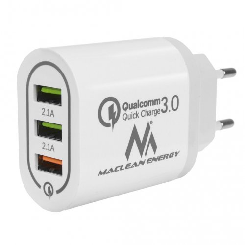 MACLEAN ENERGY MCE479 W Φορτιστής Qualcomm Quick Charge 3.0 5V / 3 A, 9V / 2 A, 12V / 1.5 A AC 100-240V Λευκό 0026067