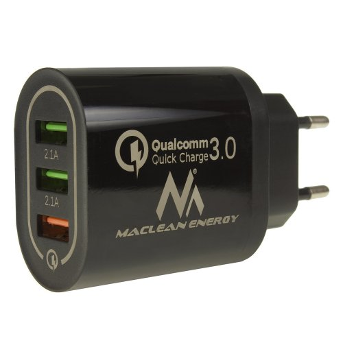 MACLEAN ENERGY MCE479B Φορτιστής Qualcomm Quick Charge 3.0: 5V / 3 A, 9V / 2 A, 12V / 1.5 A AC 100-240V Λευκός 0026068