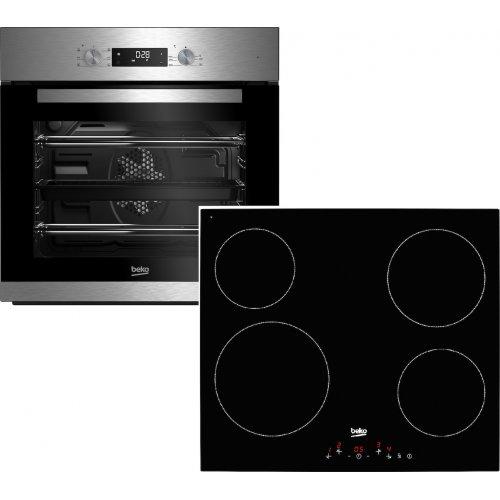 BEKO BNIE 2300XD + HNIC64400T Σετ Εντοιχιζόμενος Φούρνος Άνω Πάγκου με Εστίες Κεραμικές 7lt Inox 0026485