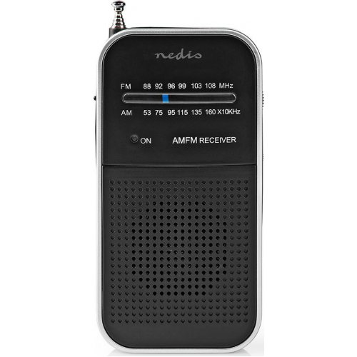 NEDIS RDFM1110SI Mini Φορητό Ραδιόφωνο FM, σε Ασημί/Μαύρο 1,5W 0026708