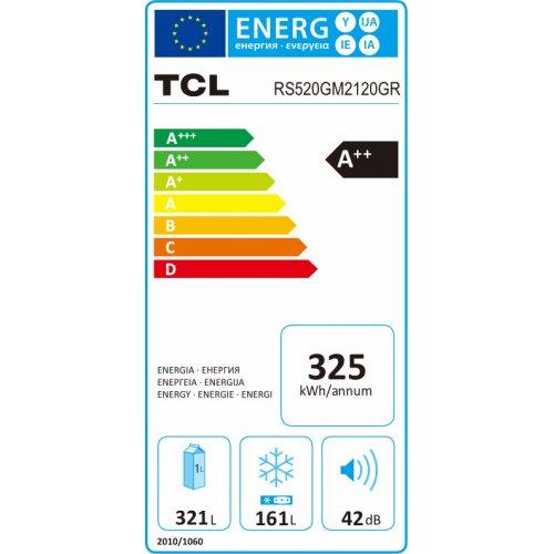 TCL RS520GM2120GR Ψυγειοκαταψύκτης Ντουλάπα Α++ 485L Inox (Υ x Π x Β): 176,8 x 92 x 63 0026899