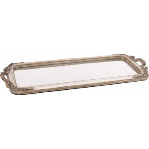 INART 3-70-383-0010 Δίσκος/Καθρέπτης Polyresin Εκρού/Χρυσός 50x22x3cm 0026969