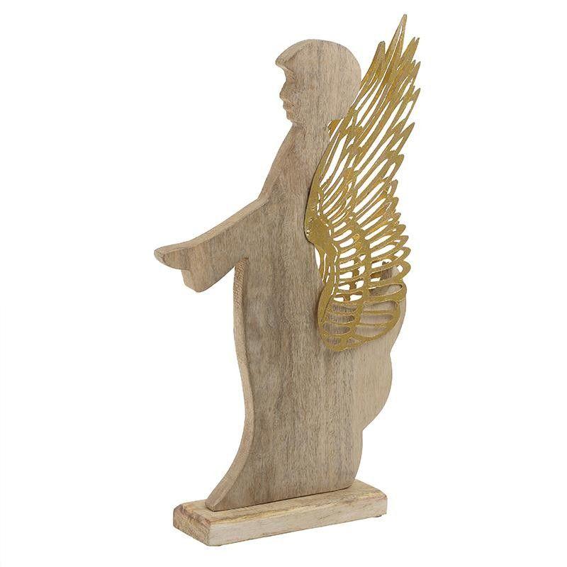 INART 2-70-429-0080 Χριστουγεννιάτικο Διακοσμητικό Άγγελος Ξύλινος - Μεταλλικός Natural - Χρυσός 24 x 7 x 44 0020661