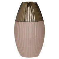 INART 3-70-685-0179 Βάζο Κεραμικό Κρεμ / Χρυσό 18 x 31