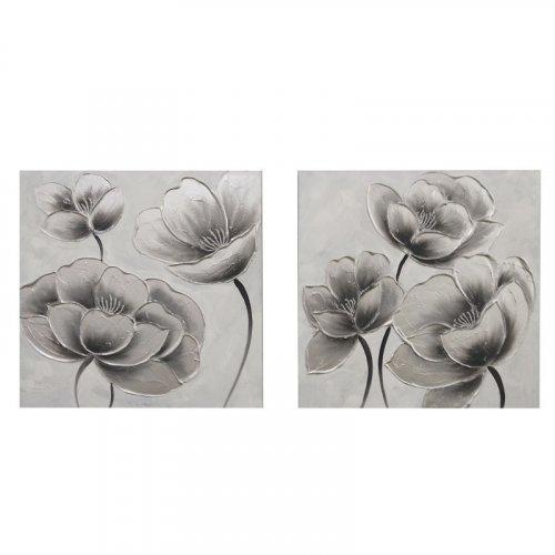 FYLLIANA 148-92-043 Κάδρο Με Καμβά 1/2 Flower Νο 2 Ασημί 60 x 2.3 x 60