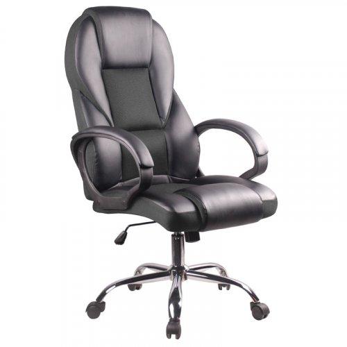 FYLLIANA 093-16-078 Καρέκλα Γραφείου Μαύρη Δερμάτινη/Γκρί Υφασμα 6402 61χ70χ111/120 Web