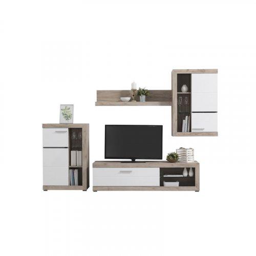 FYLLIANA 11007196 Κέντρο Ψυχαγωγίας Rosso Grey Oak - Λευκή Λάκκα 266.5 x 41.5 x 186