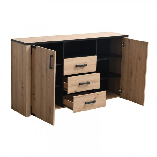 FYLLIANA 11008366 Κομότα Lazio 3K3F Artisian Oak /Μαύρο 168χ40χ94 0023437