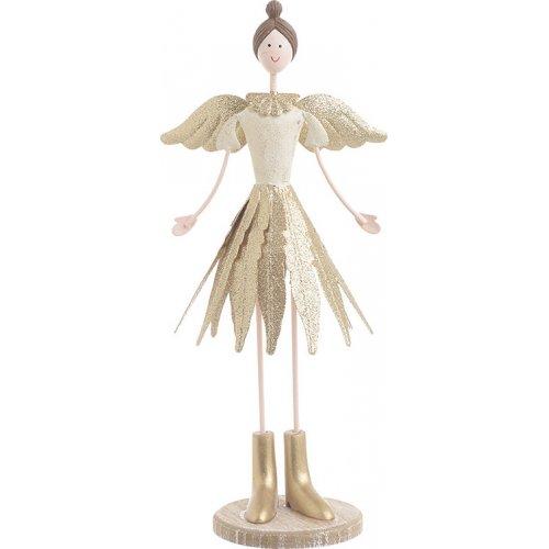 INART  2-70-822-0026 Χριστουγεννιάτικο Διακοσμητικό Αγγελος Μεταλλικό Χρυσό 12x9x27εκ 0025160