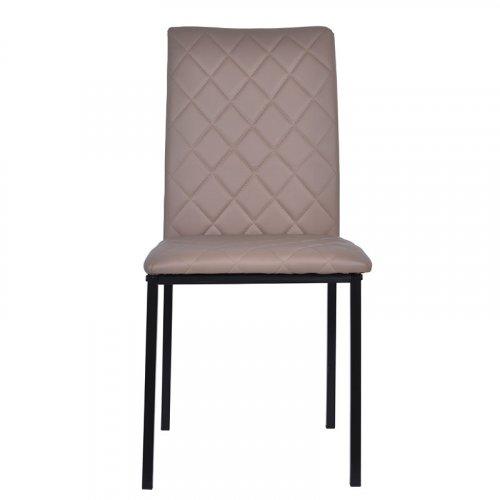 FYLLIANA 617-27-018 Καρέκλα Τραπεζαρίας C-002 Μπέζ Δερμάτινη Με Καφέ Ραφές