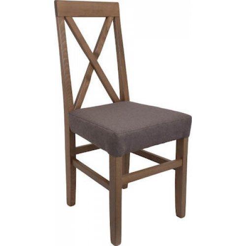 FYLLIANA 839-00-689 Καρέκλα Τραπεζαρίας Tx Grey Oak-Καφέ 43χ44χ98εκ.