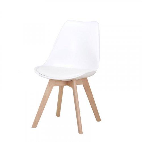 FYLLIANA 630-00-007 Καρέκλα Τραπεζαρίας Urban Λευκό Κάθισμα Με Δερματίνη Με Ξύλινα Πόδια 53χ49χ82