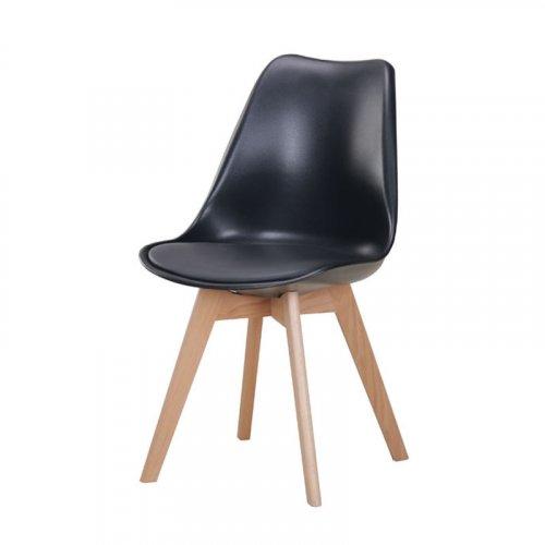 FYLLIANA 630-00-008 Καρέκλα Τραπεζαρίας Urban Μαύρο Κάθισμα Με Δερματίνη Με Ξύλινα Πόδια 53χ49χ82
