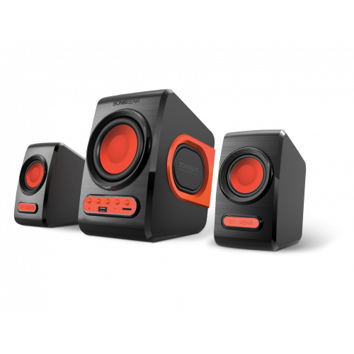 SONIC GEARS QUATROVBFR Ηχεία με FM & Usb Powered Xtreme Bass 2.1 Μαύρο/Κόκκινο 0007134