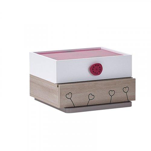 FYLLIANA SWEETY R2V03 851-16-018 Κομοδίνο Sonoma- Λευκό - Ροζ 55 x 53 x 33.5