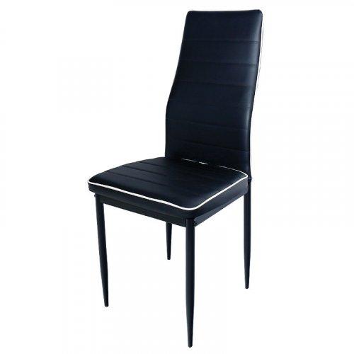 FYLLIANA C-001 617-16-001 Καρέκλα Δερματινη Μαύρο με Άσπρη Ρίγα